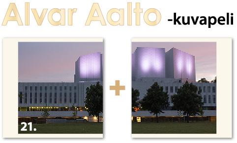 Alvar Aalto -kuvapelin kortti: Finlandia-talo.