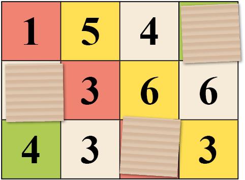 Helpon nelinoppapelin pelilaudan kuva.