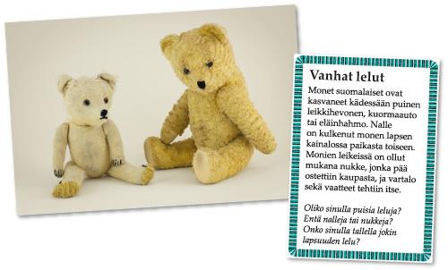Lapsuuden lelut ja leikit: vanhoja teddynalleja.