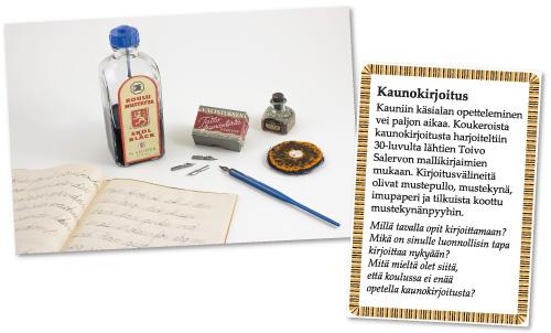 Muistoja kansakoulusta. mustekynä, kynänpyyhin, mustepullo ja kaunokirjoitusvihko