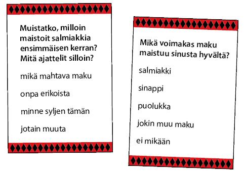 Salmiakki-kysymyskortit: Muistatko, mitä ajattelit, kun maistoit salmiakkia ensimmäisen kerran?