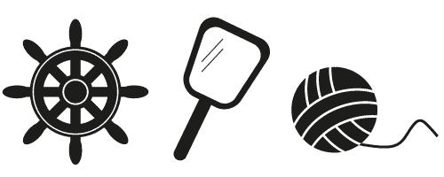 Ennustaminen-kuvasymboleilla: ruori-peili-kerä.