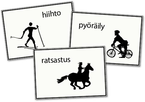 Arvaa mikä urheilulaji: hiito, pyöräily, ratsastus.