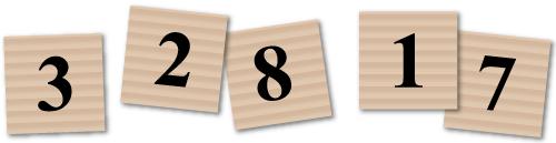 Pahvista tehtyjä neliön muotoisia pelilaattoja.