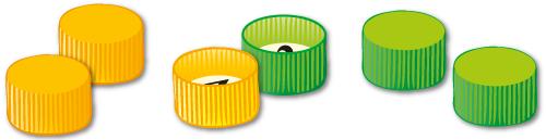 Pistepelin pelimerkit, kolme vihreää korkkia ja 3 oranssia korkkia