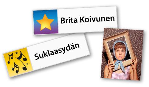 Pelin esimerkki: Brita Koivusen nimi + kuva + Suklaasydän-biisi.