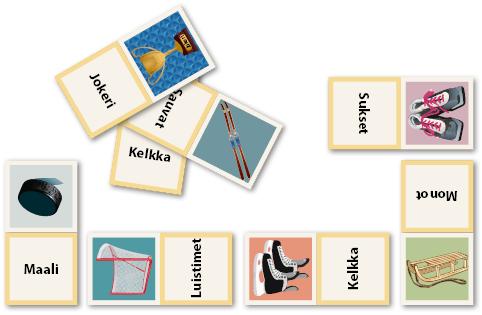 Talvilaji-domino, jossa urheiluvälineen kuva yhdistetään sanaan.