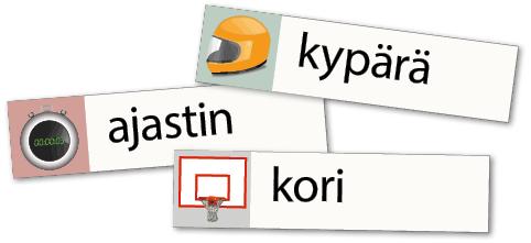 Urheiluväline-sananselityspelin esimerkkejä.