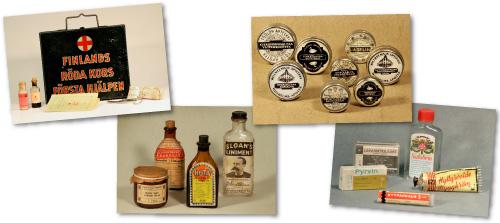 Apteekkimuseon aarteita -kuvakortteja: sodanaikainen ensiapulaukku, linimenttejä, apteekin salvoja.