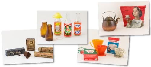 Kahvimuseon aaretita -kuvia: kerma ja kermake, sikuri, suodatinpussit ja suodattimet.