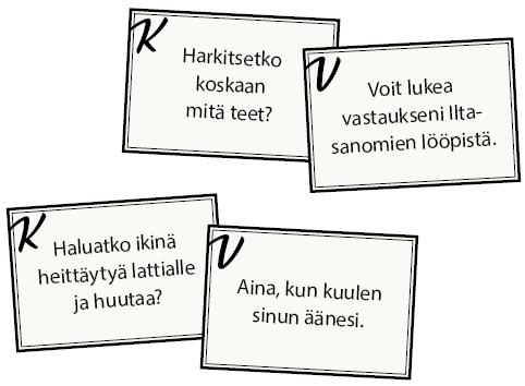 Nokkela nostatus - esimerkkejä kysymyskorteista ja vastauskorteista.