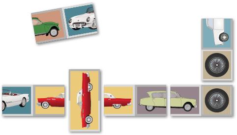 Autodomino-pelissä yhdistetään autojen puolikkaita.