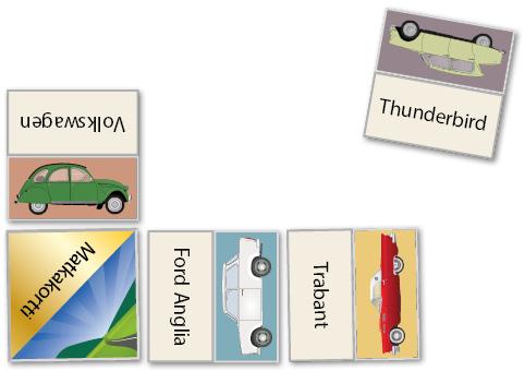 Autodomino, jossa yhdistetään autojen kuvia ja autojen nimiä..