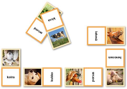 Eläindomino, jossa vuorotellen eläimen kuva ja eläimen nimi.