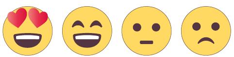Neljä emojia, jotka sopivat palautteen antamiseen.
