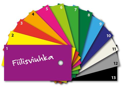 Fiiliskierros: väriviuhka, jossa 13 eri väriä.