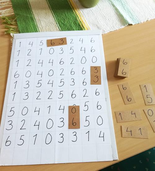 Numeroparipelin on piirretty lehtiöön, pelilaatat on tehty pahvista itse.