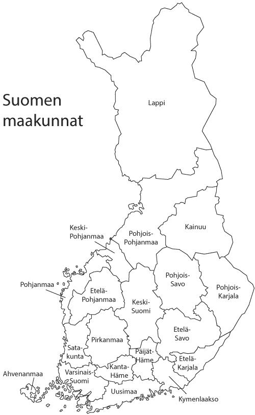 Suomen maakunnat ja nimet karttana