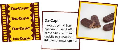 Klassikkokarkkikortit -kuvapeli. Esimerkkinä Da Capo -suklaa.