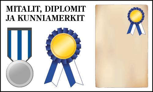 Mitalit, kunniamerkit ja diplomit