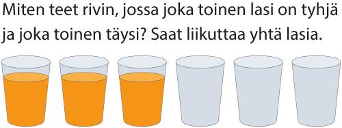 Päättelypähkinät 2: Miten teet rivin, jossa joka toinen lasi on tyhjä ja joka toinen täysi?