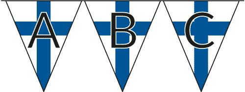Suomenlippu-viirejä siimassa