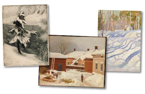 Talviset taidekuvat, esimerkkejä.