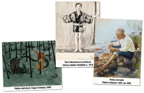 Kolme tunteellista taidekuvaa Kansallisgallerian CC0-kuvista.