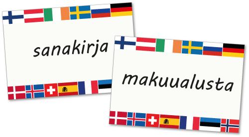 Matkailusanat-sananselityskortit: sanakirja, makuualusta.