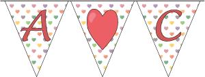 Pieniä sydämiä taustalla -lippunauha