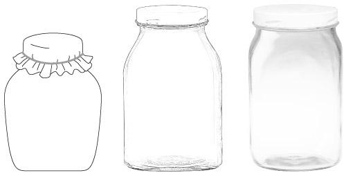 Kolmen tyylisiä lasipurkkeja.