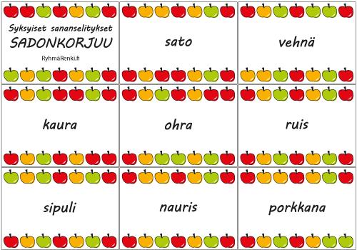 Syysananselitykset - sato, vehnä, kaura, ohra, ruis, porkkana