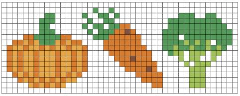Esimerkkitehtävä: Väritä ruudut mallin mukaan: kurpitsa, porkkana, parsakaali.
