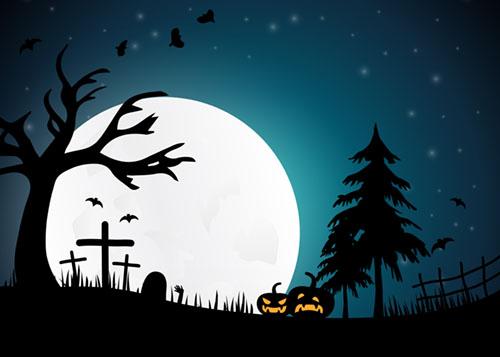 Halloweenyö, kurpitsalyhtyjä, hautausmaa ja täysikuu