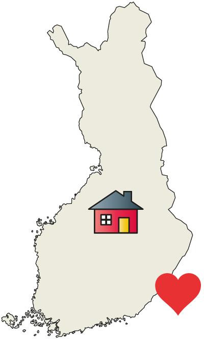 Henkinen ja fyysinen kotipaikka Suomen kartalla.