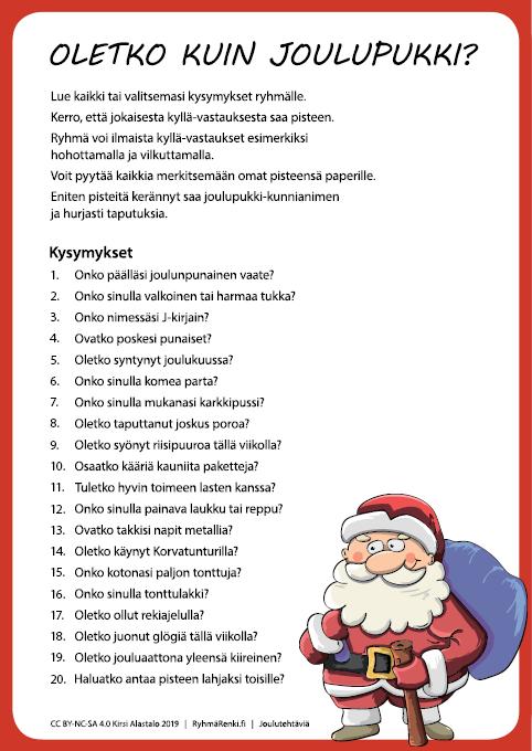 Joulutehtäviä: Oletko kuin joulupukki?