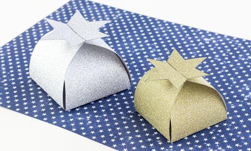 Tulostettavat lahjarasiat - Tähtirasiat kulta- ja hopeapaperista