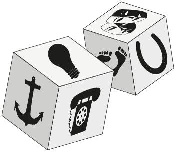 Kaksi noppaa, joissa symboleja