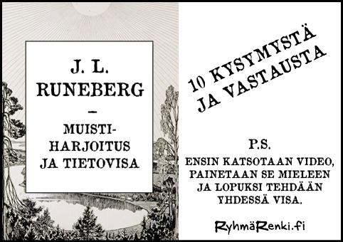 J. L. Runeberg - muistiharjoitus ja tietovisa
