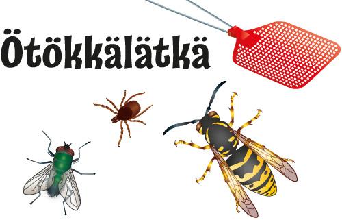 Ötökkälätkän kuva: kärpäslätkä, ampiainen, punkki ja kärpänen.