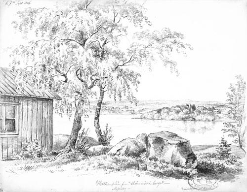 Magnus von Wright: Hatanpää Härmälästä nähtynä -värityskuva.