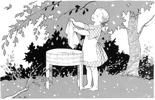 Rudolf Koivun kuvitusta: Pieni pyykkäri koivun alla.
