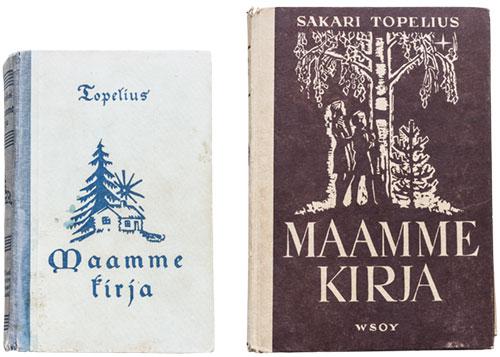 Topeliuksen Maamme kirjoja eri vuosikymmeniltä.