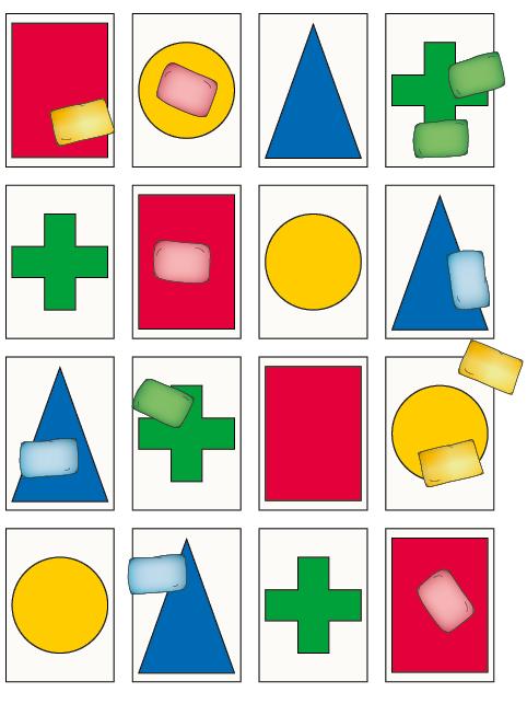Helpot heittopelit: Väri ja muoto -pelin 3. peliohjeen pistelaskuesimerkki.