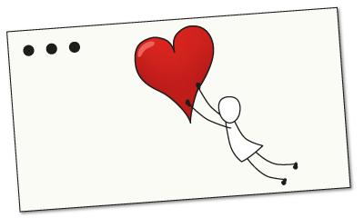 Kortti, jossa ihminen leijuu sydämen perässä.