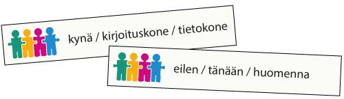 Valitse sana ja kerro -esimerkki: eilen / tänään / huomenna.